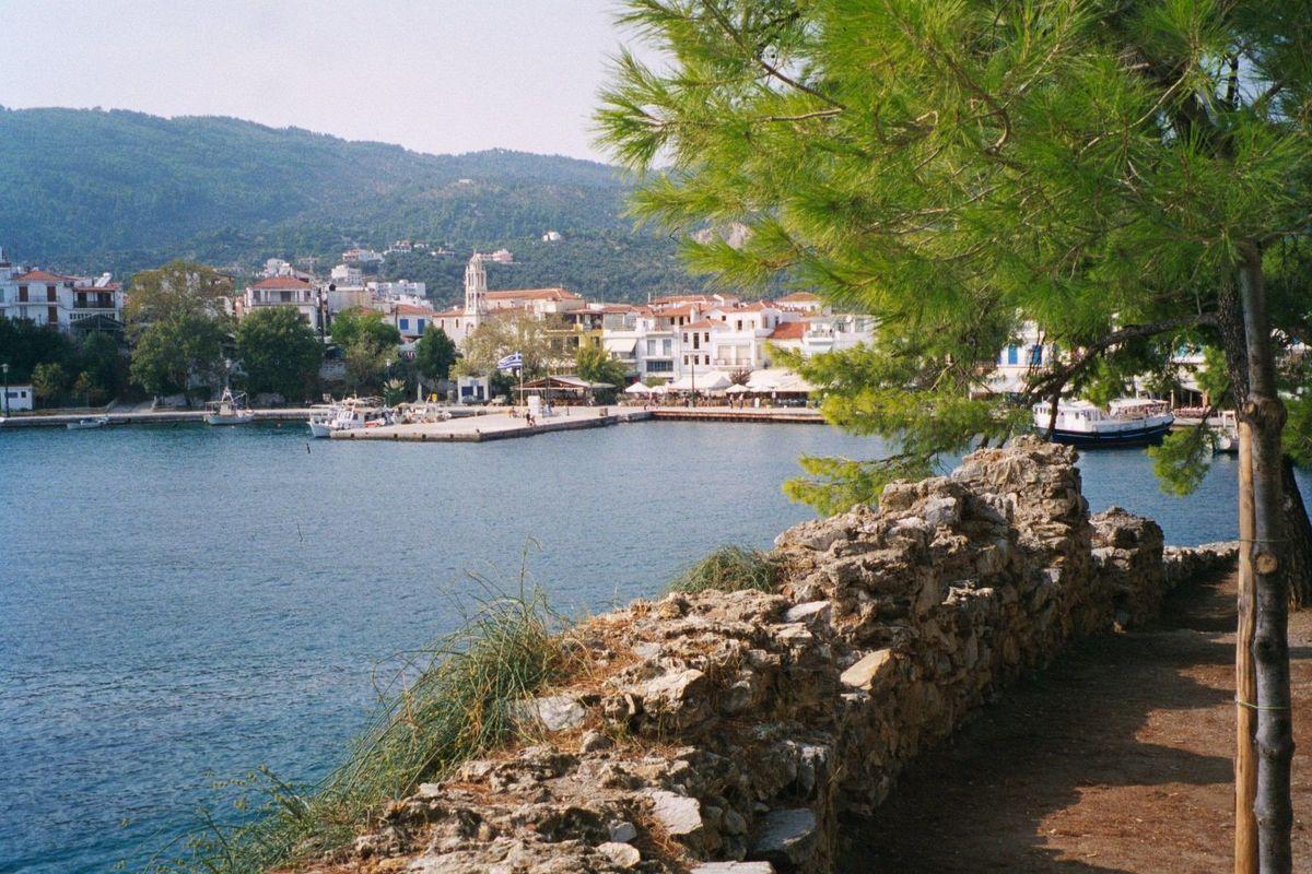 Hamnen Skiathos stad  Grekland