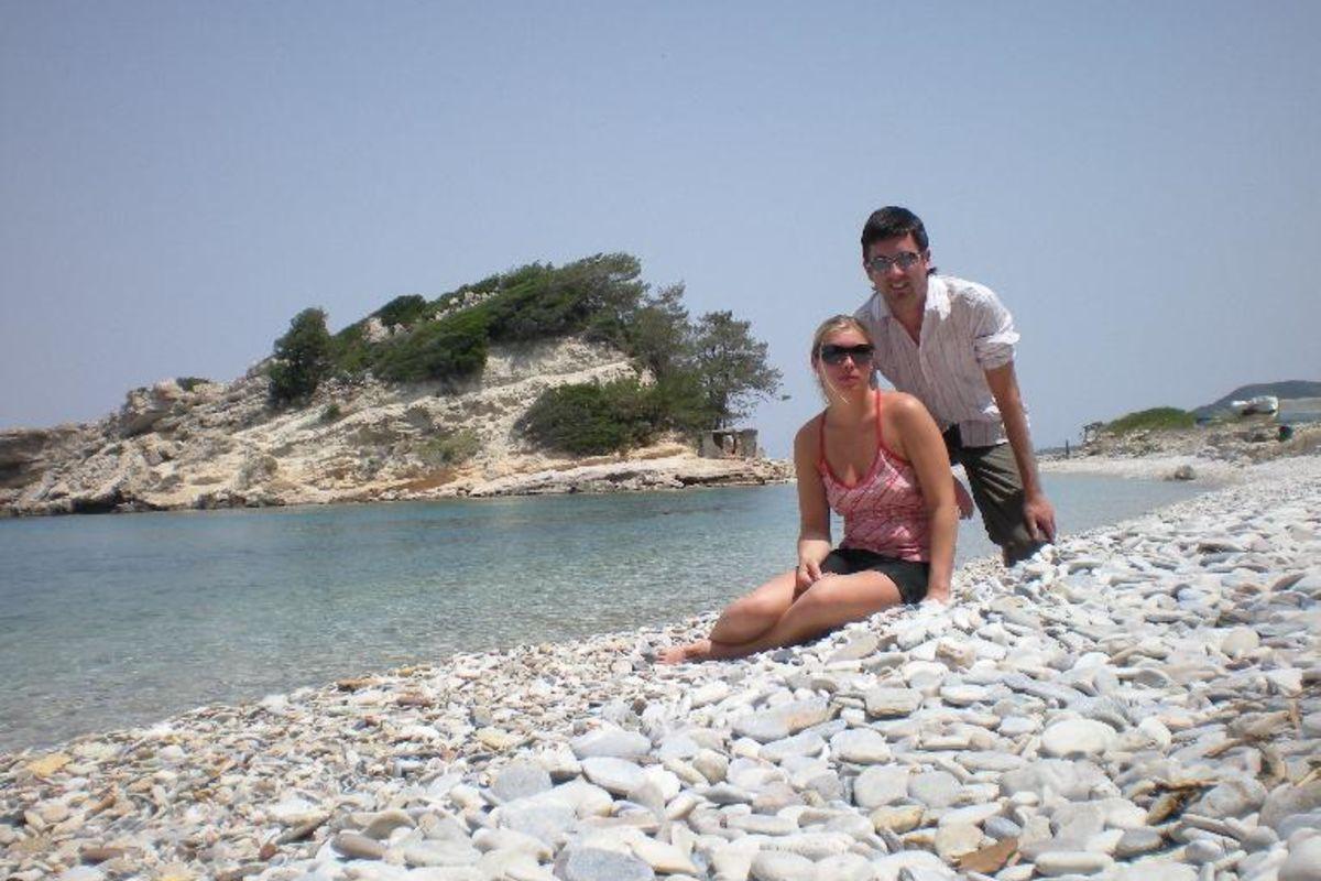 Vi på stranden i Kokkari